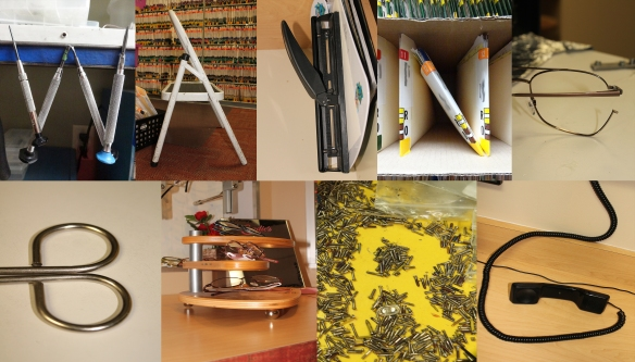 Wayne Berg spells out his name using every day objects found throughout the workplace.